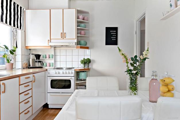 Utrymme för köksbord om fyra platser.