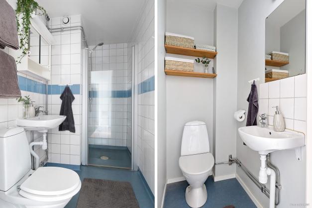 Badrum med dusch samt WC intill huvudsovrummet.