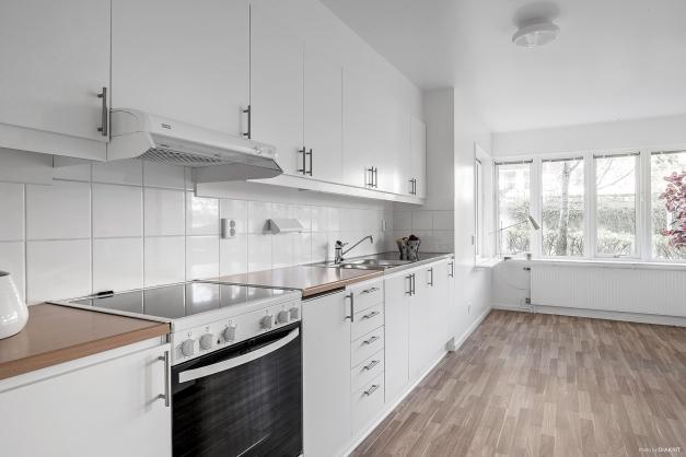 Nymålade köksluckor och gott om arbetsytor och förvaring i detta ljusa enhetliga kök.