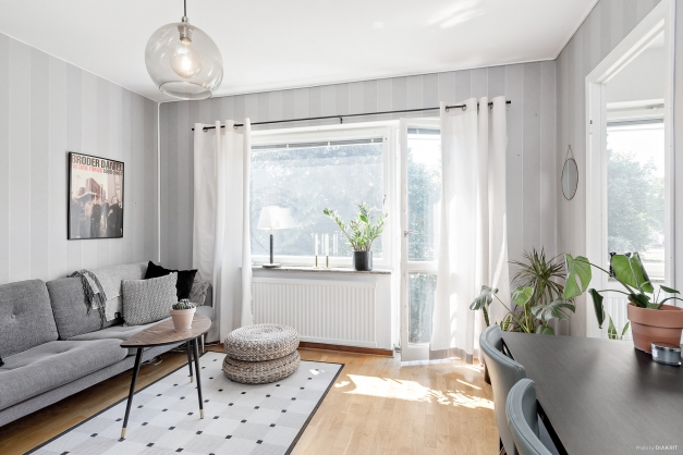 Vardagsrum med fransk balkong