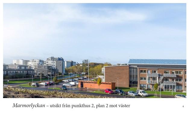 Drönarbild, utsikt från punkthus 2, plan 2 mot väster.
