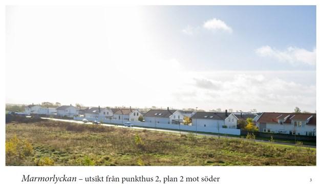 Drönarbild, utsikt från punkthus 2, plan 2 mot söder.
