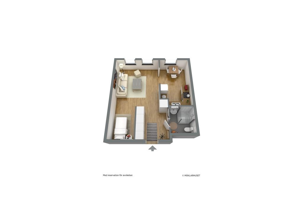 Planlösning 3D möblerad