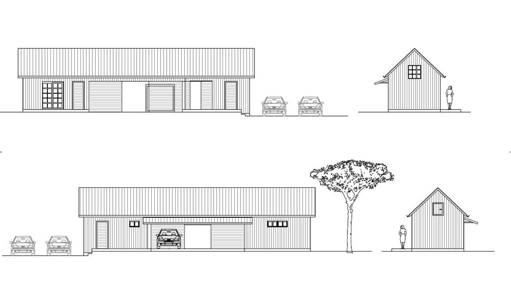 Fasad på länga med gästrum, carport, förråd och bastu