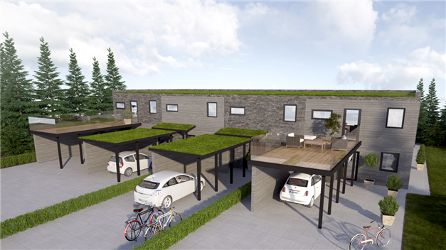 Tillval carport/takterrass på mellanradhusen.