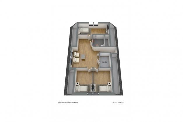 Planskiss övre plan förslag, möblerad