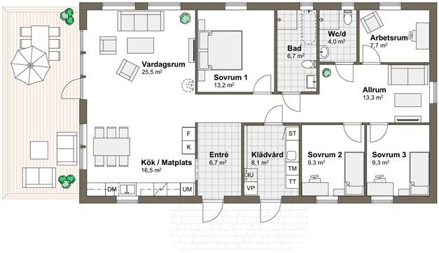 Planlösning Villa Udden