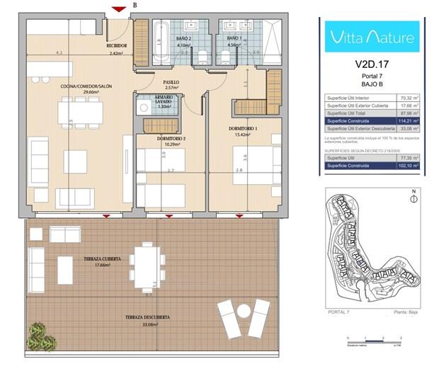 Exempel planritning, markplan. Lägenhet V2D .17