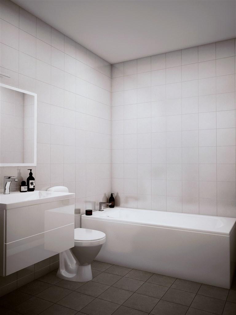 Badrum övre plan med badkar