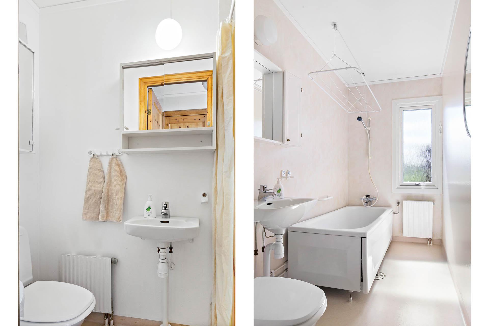 Badrum dusch samt badrum med badkar