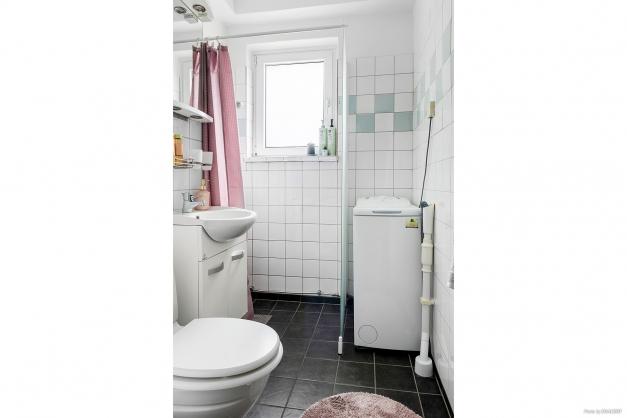Duschrum med kakel, klinker och tvättmaskin.