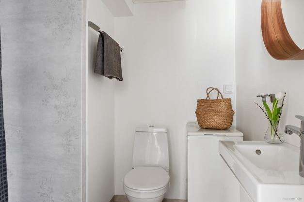 Lägenhetens badrum med dusch och tvättmaskin.