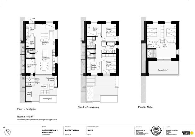Alternativ planskiss för Hus 1 & Hus 4 med alternativ layout på badrum vån 2 samt inredning vån 3