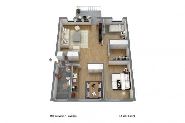Exempel på möblerad alernativ planskiss 3D