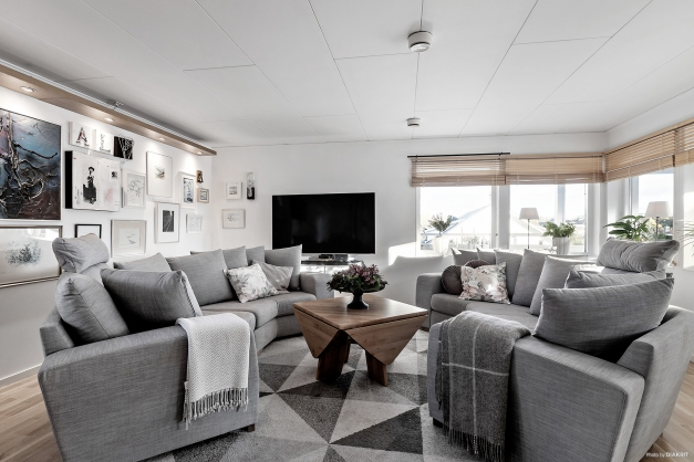 Trevligt vardagsrum med mycket ljus