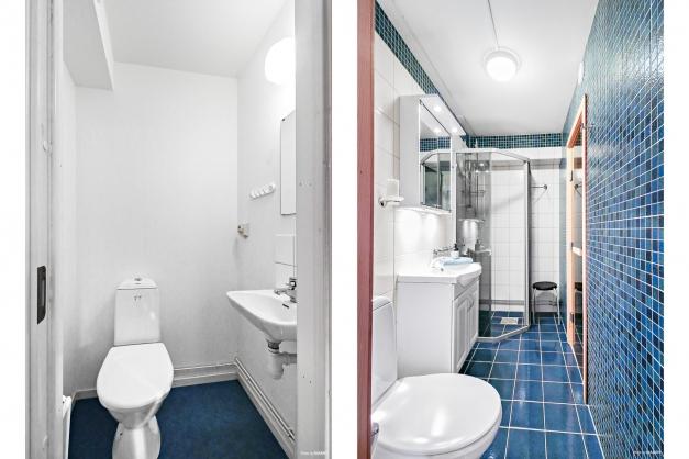 Separat WC och badrum med bastu