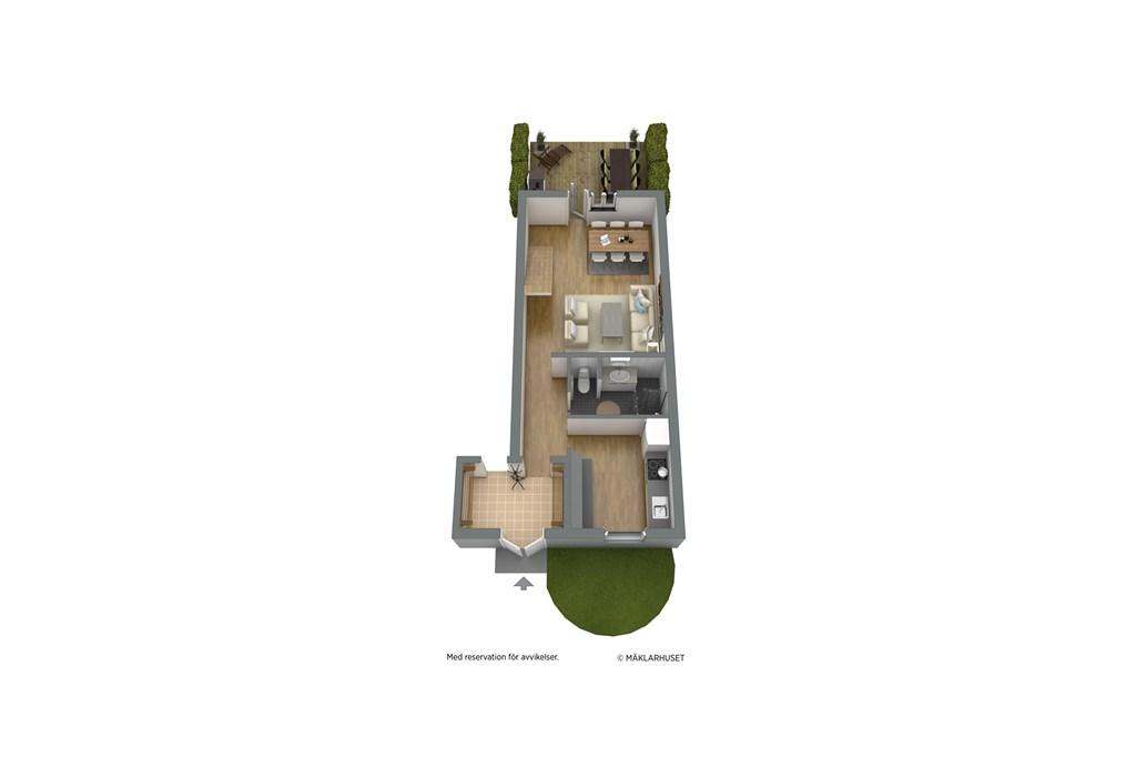 Entréplan, möblerad 3D-planskiss