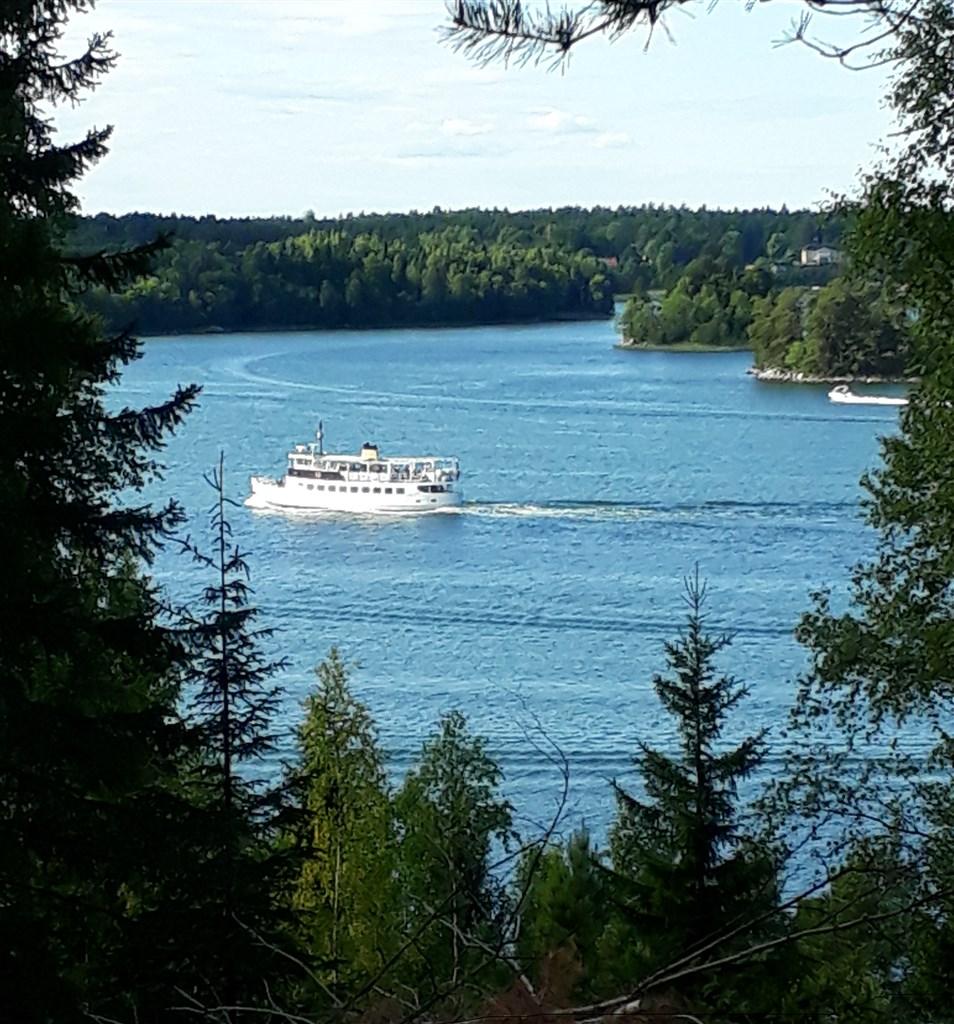 Utsikt från tomten över båtlivet i Norrtäljeviken
