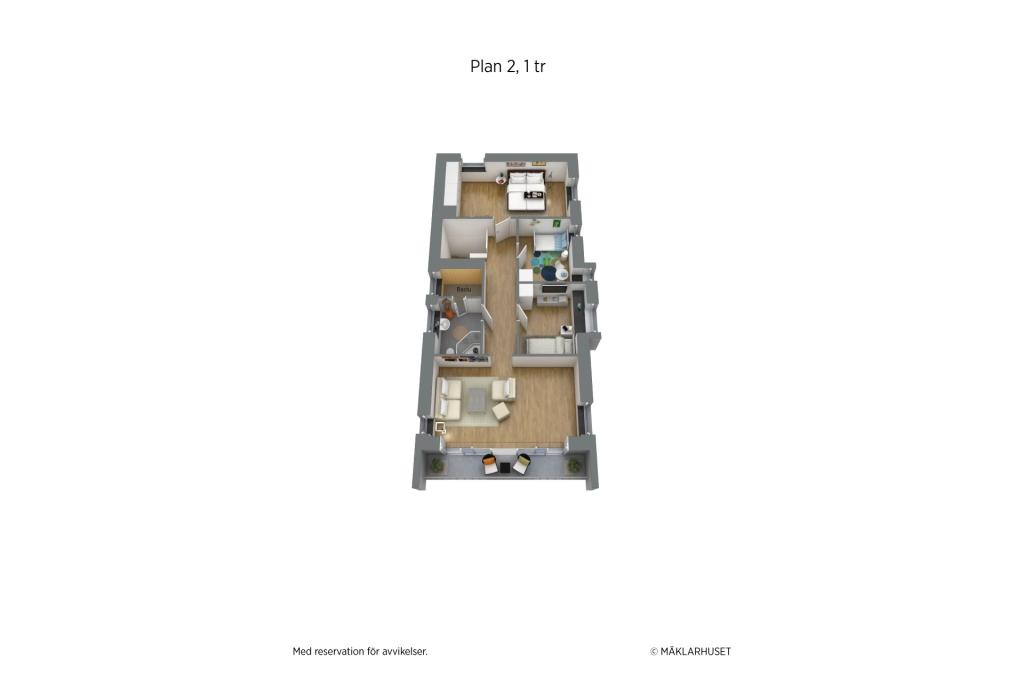 Planritning 3D, möblerad 2 planshus övreplan