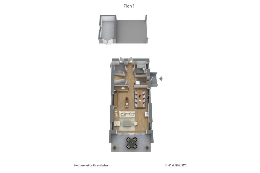 Planritning 3D, möblerad 2 planshus entréplan