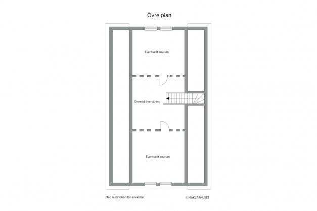 Planskiss 2D övre plan - oinredd idag
