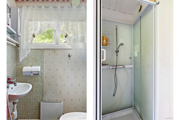 Separat toalett och duschkabin
