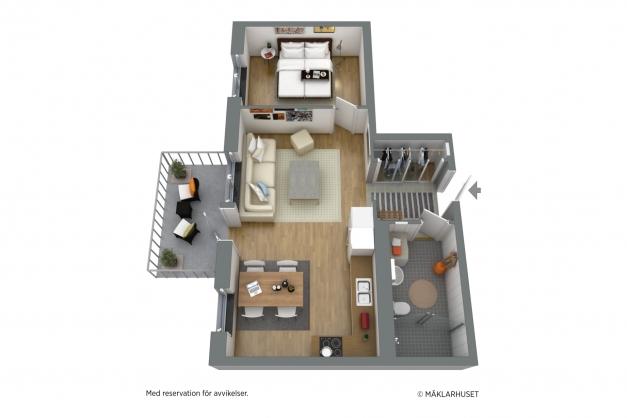 Möblerad planritning i 3D