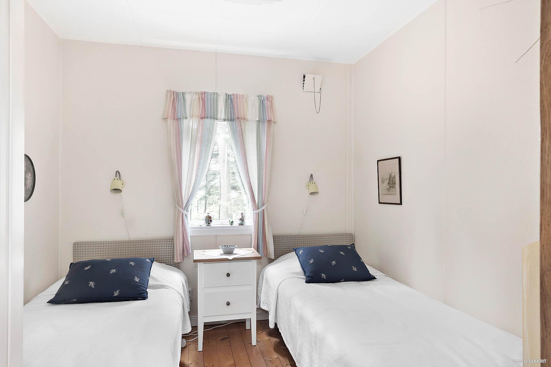 Sovrummet har plats för två sängar eller varför inte våningssängar. Givetvis kan här ställas dubbelsäng istället.