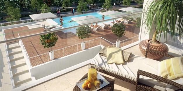 Illustrationsbild - terrass med utsikt mot poolområdet