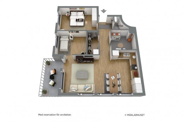 Planskiss 3D möblerad