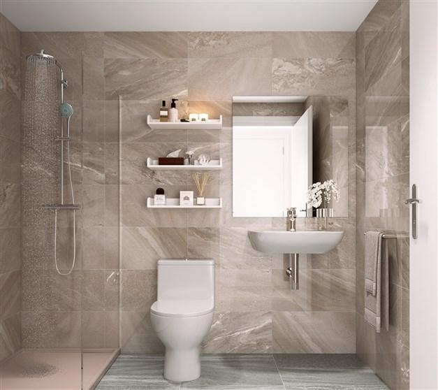 Ilustrationsbild - stilrent duschrum