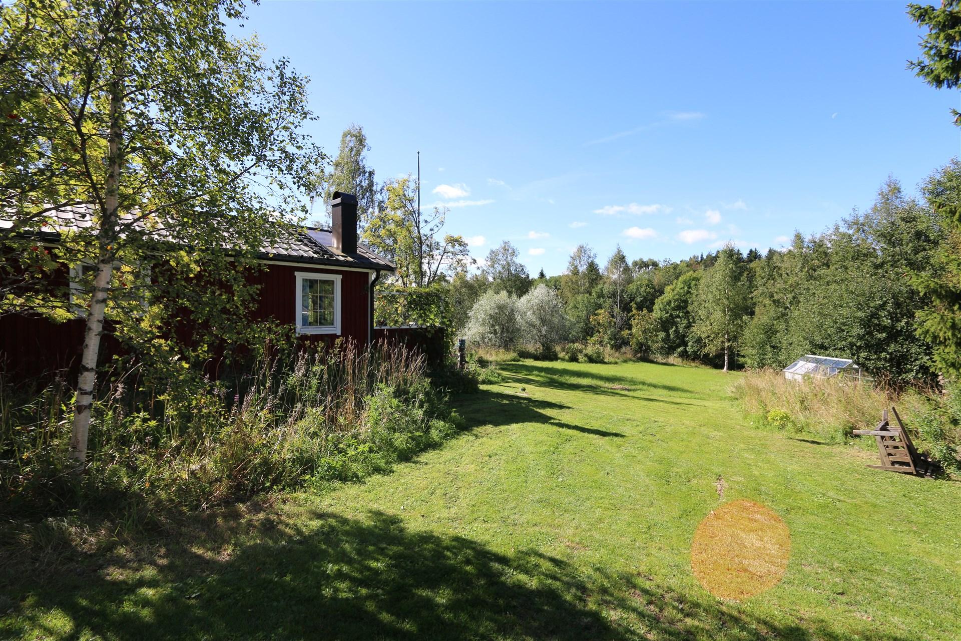 I trädgården finns både ett växthus och en förrådsbod