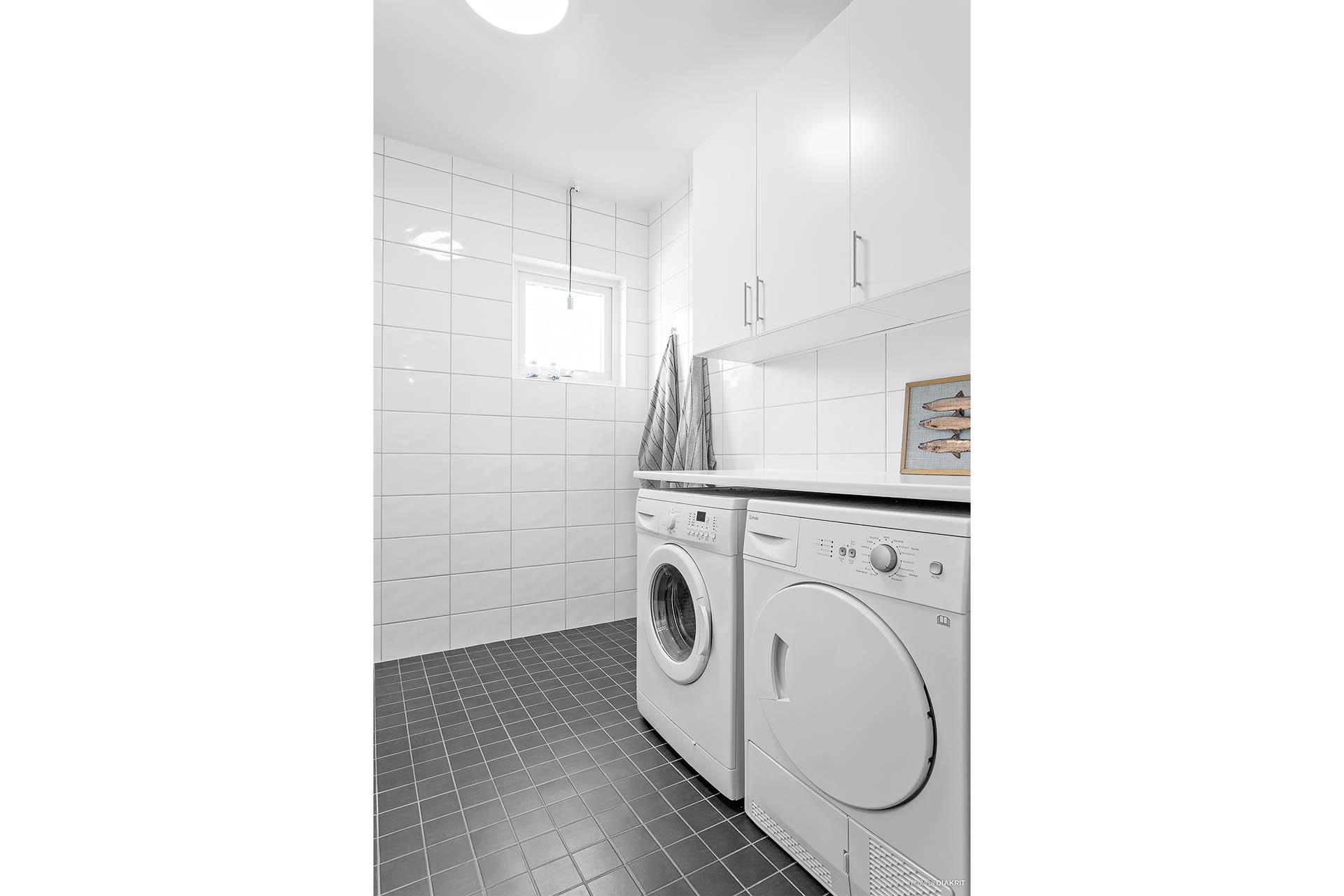 Tvättavdelning i badrum