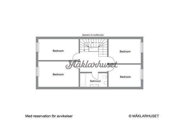 Planritning - Övre plan med uppgång till dubbla takterrasser