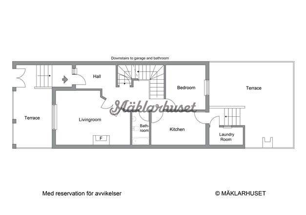 Planritning - Entréplan med nedgång till garage i källarplan