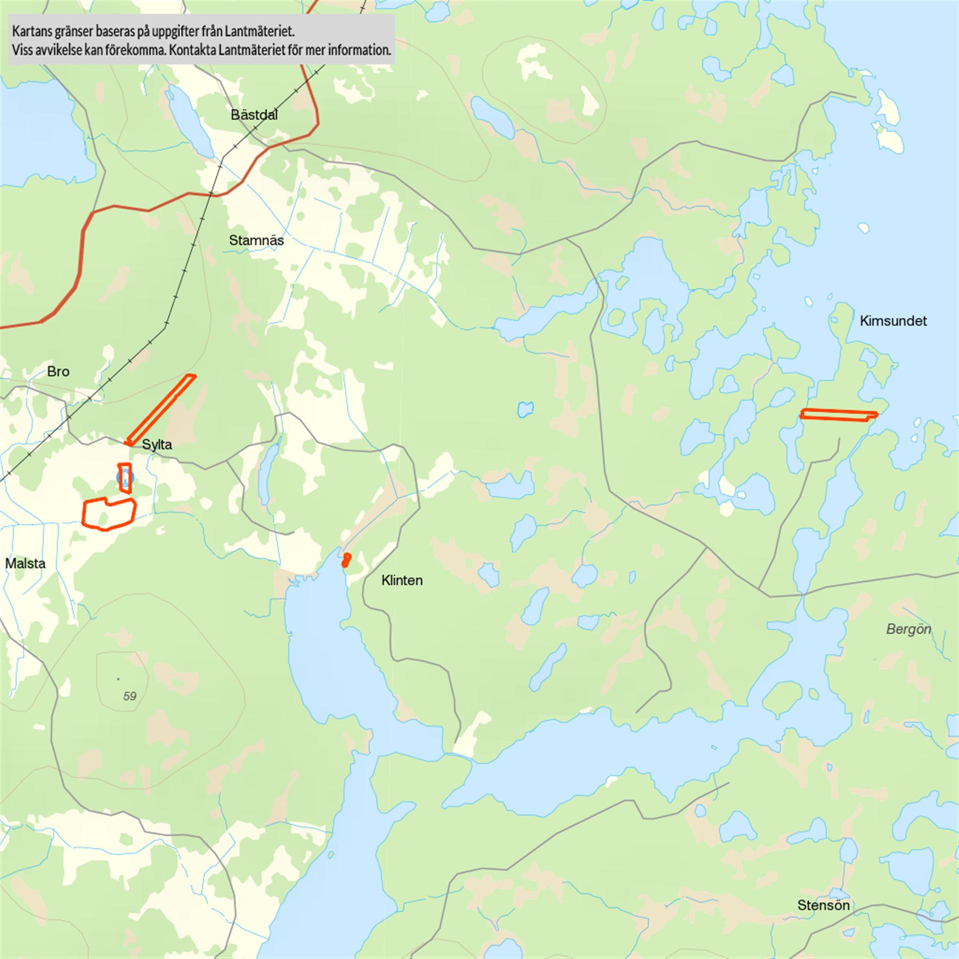 Fastighetskarta över skogsmark, åkermark och tomtmark