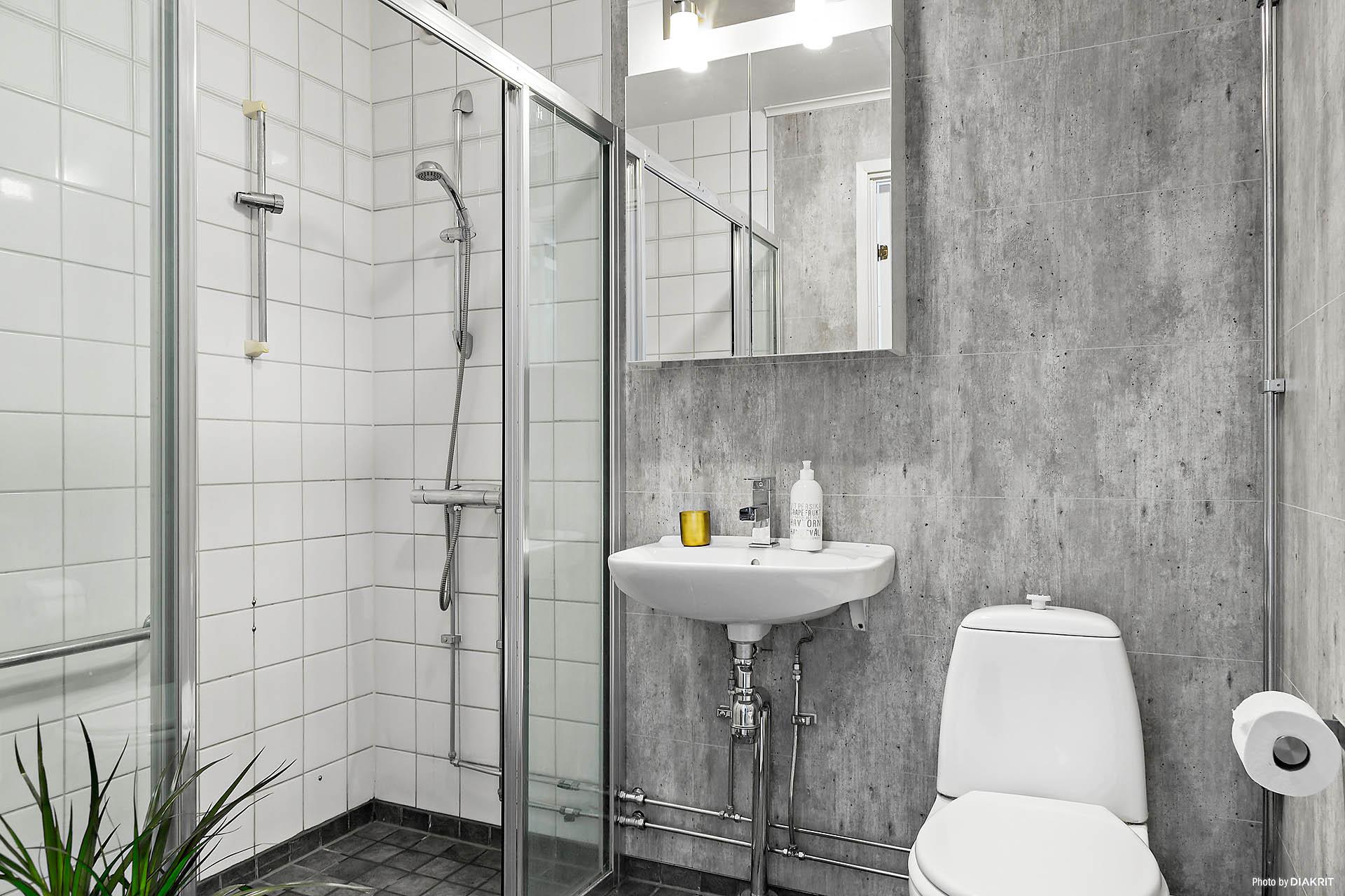 Helkaklat badrum, delvis renoverat