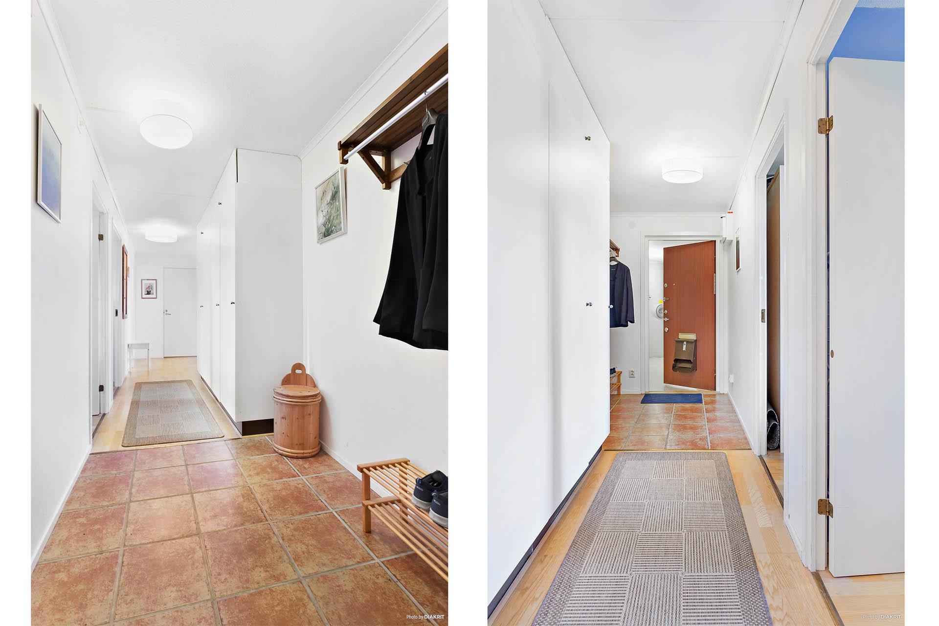 Rymlig hall som fördelar lägenhetens samtliga rum.