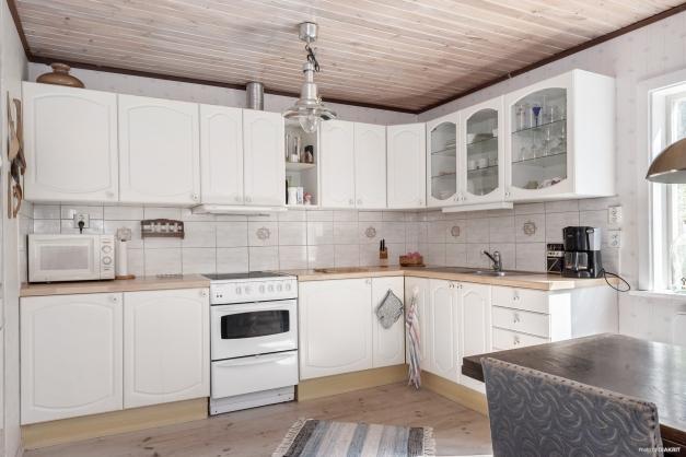 Normalstort kök med gott om förvaring i skåp och goda arbetsytor.