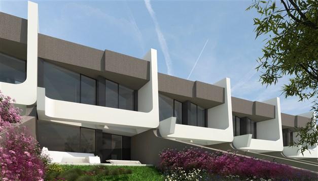 Fasad mot golfbanan - arkitektens 3D-bild