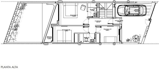 Entréplan (övre plan) i hus 15 och 17.