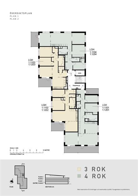 Översiktsplan  våning 1 och 2