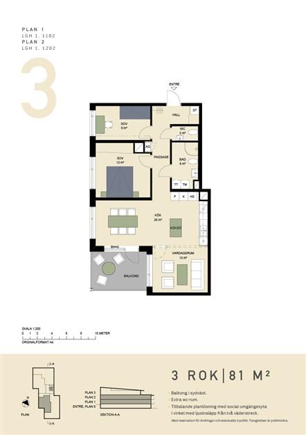 Planritning. Möjlighet att omdisponera lägenheten till en 4:a med 3 möjliga sovrum.