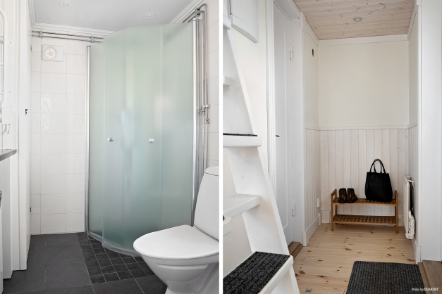 Hall och badrum.
