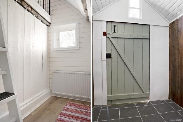 Till väster litet sovrum/kontor/förråd med sovloft i rummet och till höger i bild ett kallförråd.