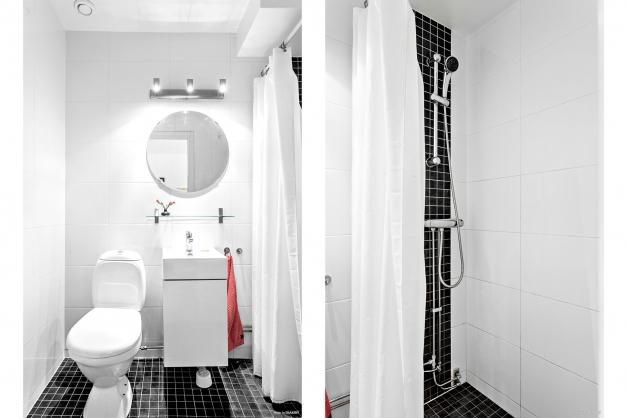Snyggt badrum med dusch