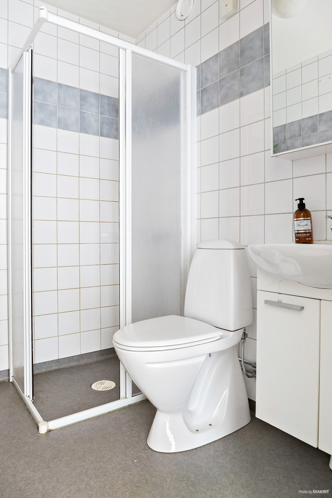 Badrum med dusch, kommod och wc