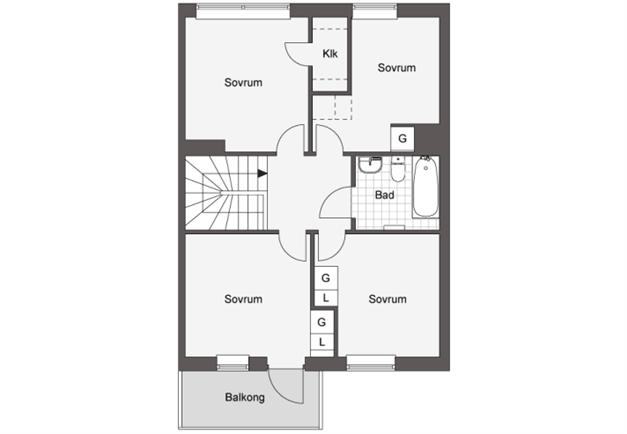 """Planlösning - ovanvåning. Önskar du en annan planlösning på ovanvåningen så se under fliken """"länkar""""."""