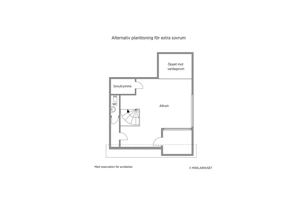 Alternativ planlösning - så här skulle ett extra rum kunna se ut (krävs godkännande från föreningen).