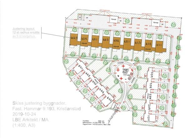 Juserad layout. 12 radhus erätts av 9 kedjehus.